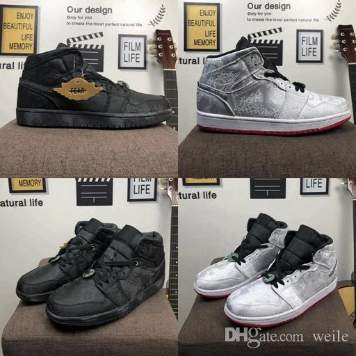 2020 Nova Edison Chen seda coágulo x Destemido 1 Mid Mens tênis de basquete 1s Branco Preto Vermelho Trainers Designer Sports Sneakers Zapatos
