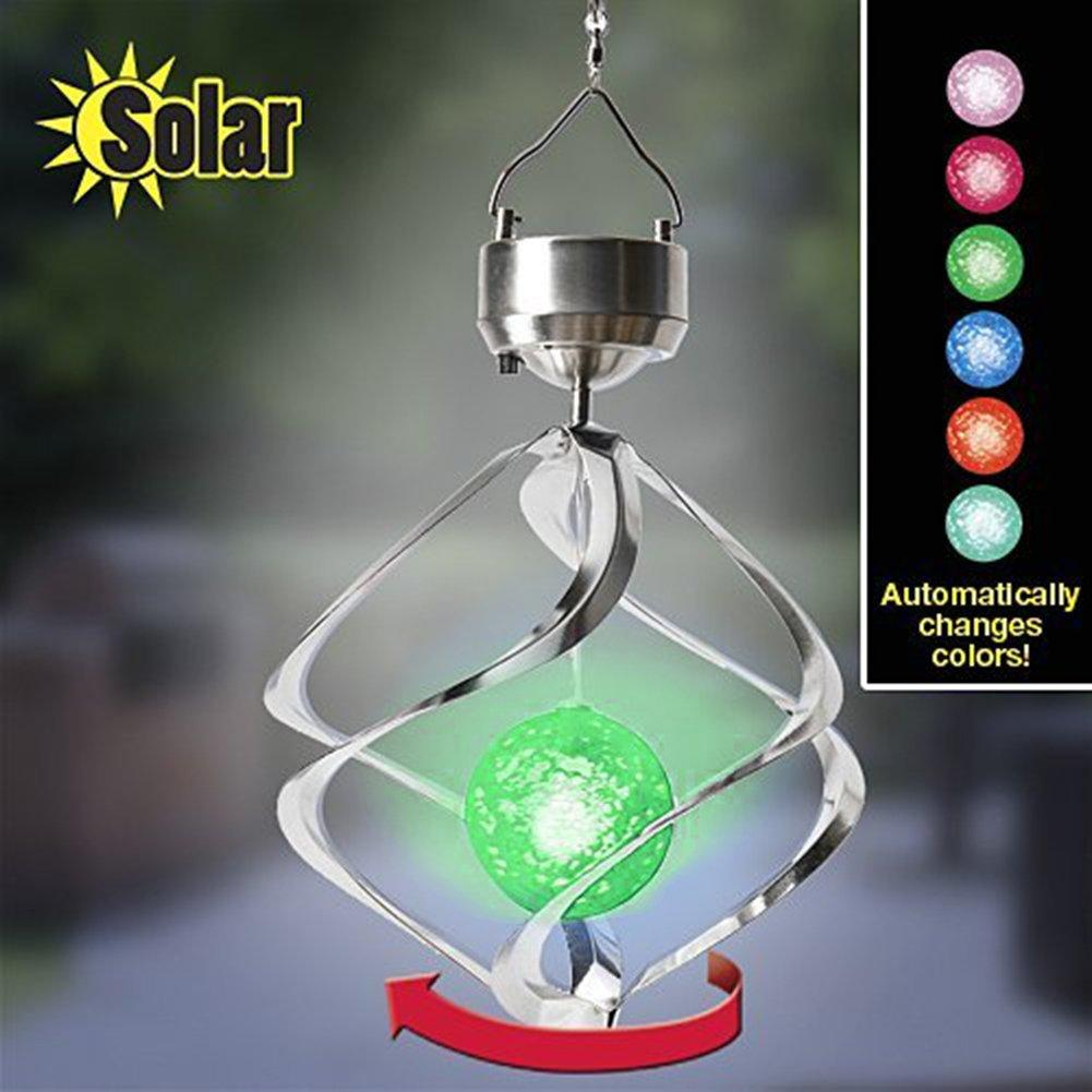 Solar Wind Chime LED Colour Changing Hanging Wind Light Waterproof Spiral Spinner Lamp Garden Yard Lawn light