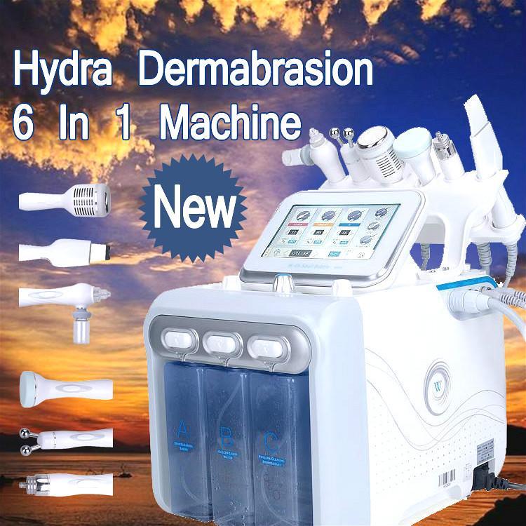 2020 Best 6 In 1 Aqua Hydra Facial Water Dermabrasion H2 O2 Oxygen Spray with RF Bio Lifting Spa Facial Skin Deep Cleansing Machine