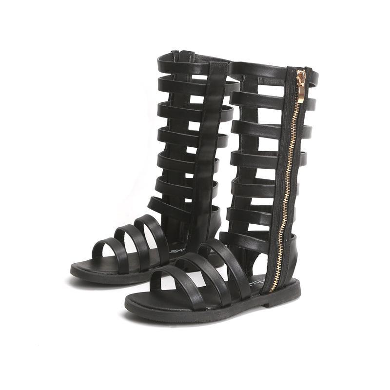 2020 nuovo cuoio di cuoio reali Girls dei sandali in camoscio bambini romani sandali femminile arco Stivali Bambino Gladiator Sandals Size 26-37