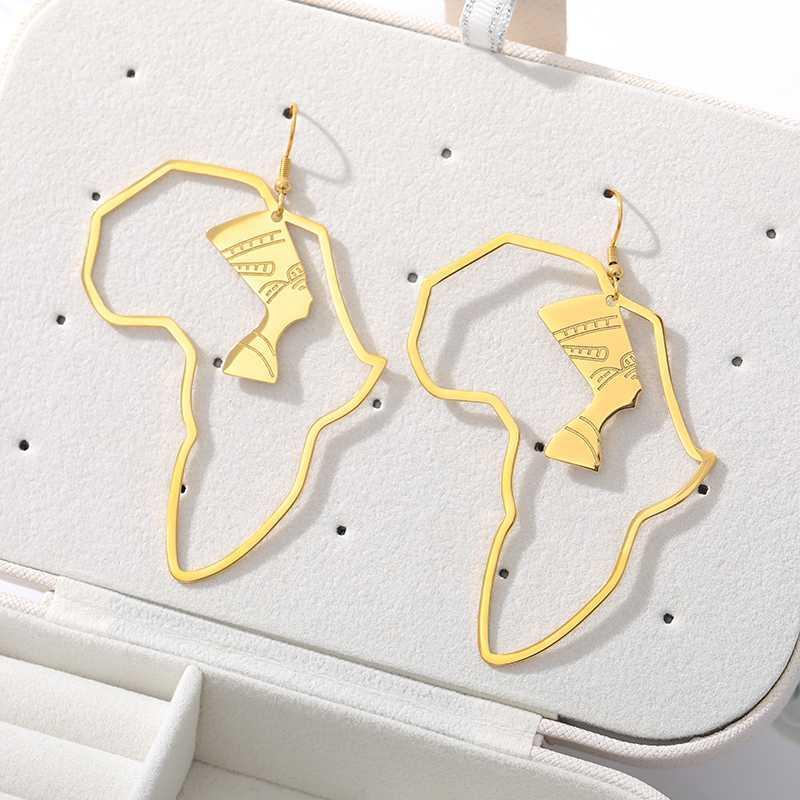 여성 남성 골드 컬러 에티오피아 보석 아프리카 힙합 귀걸이 파티 선물 펑크 Brincos에 대한 스테인레스 스틸 아프리카지도 귀걸이
