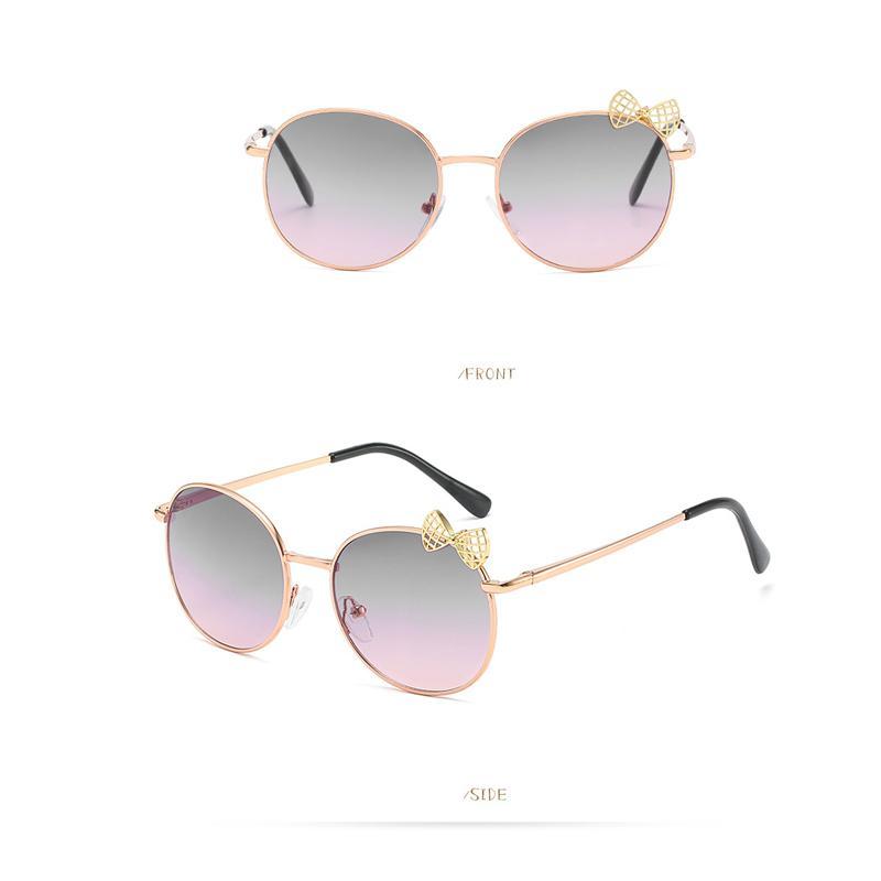 Children Sunglasses Gradient Lens Cute Round Glasses Girls Metal Frame Glasses Eyewear Brand Sun With Butterfly