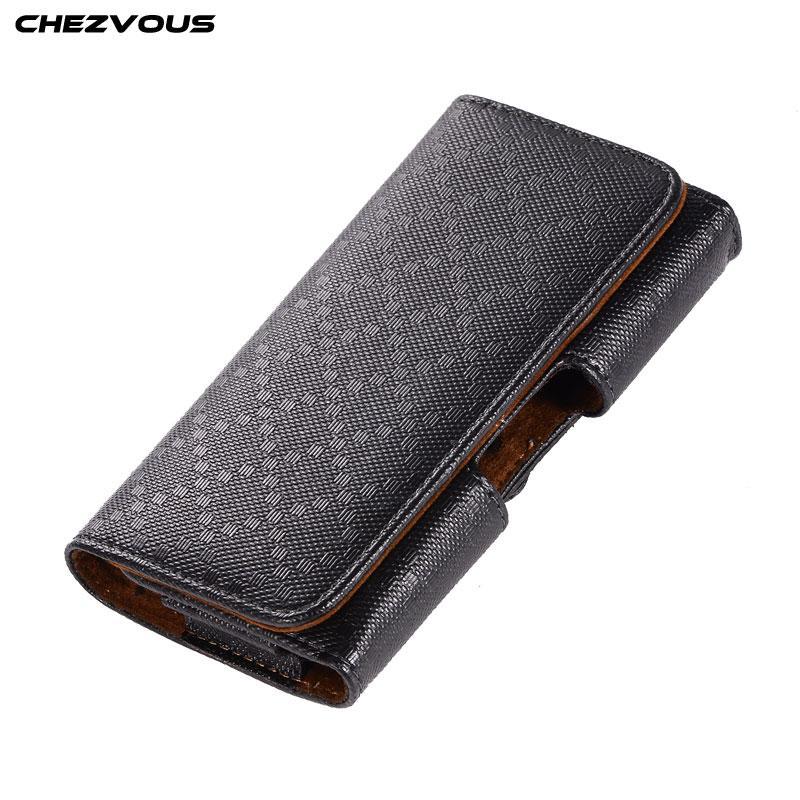 CHEZVOUS PU 가죽 파우치 아이폰 7 8 6 플러스 5s에 대 한 가로형 벨트 클립 케이스 삼성 S8 S9에 대 한 보편적 인 전화 케이스 허리 가방