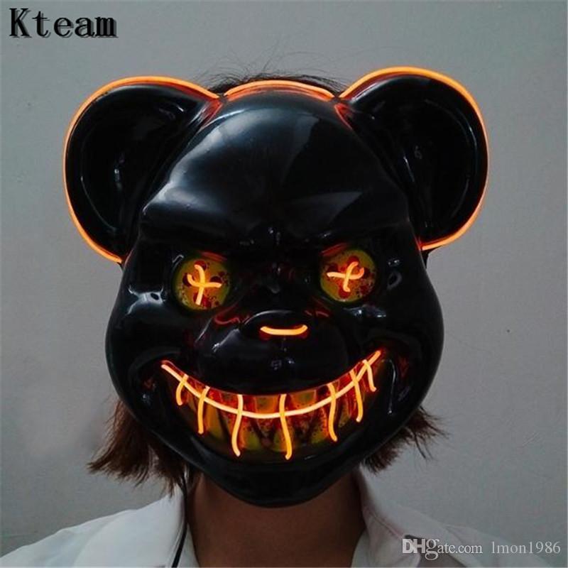 2019 Светящиеся Смешные Хэллоуин маска Кровавый убийца Кролик Маска Медвежонок Halloween Cosplay Плюшевые Horror маски для детей, взрослых Wild Wolf Scary