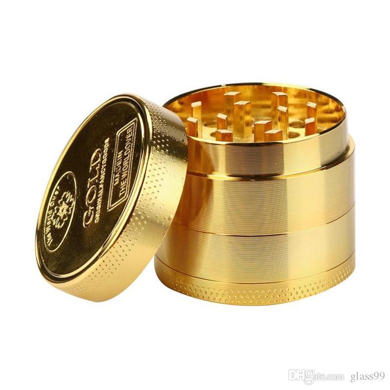 Pas cher or moulins en métal ginder kit 40mm 4 couche tabac grinder pour fumer alliage dents coloré Moulins fit herbe sèche aléatoire couleur