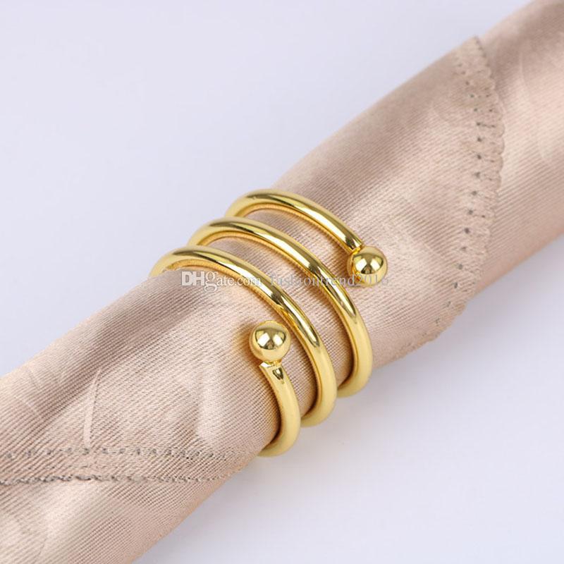 Gold / Silber-Serviette-Ring-Serviette-Schnalle-Servietten-Halter für Hotel Esstisch und Hochzeits-Party-Bankett-Dekoration