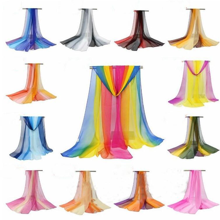 التدرج والأوشحة المرأة طرحة شال الانتقالية اللون الحجاب الرقص والأوشحة ساحة الرقص الحرير وشاح OutdoorTulle فوط الشاطئ DHD524