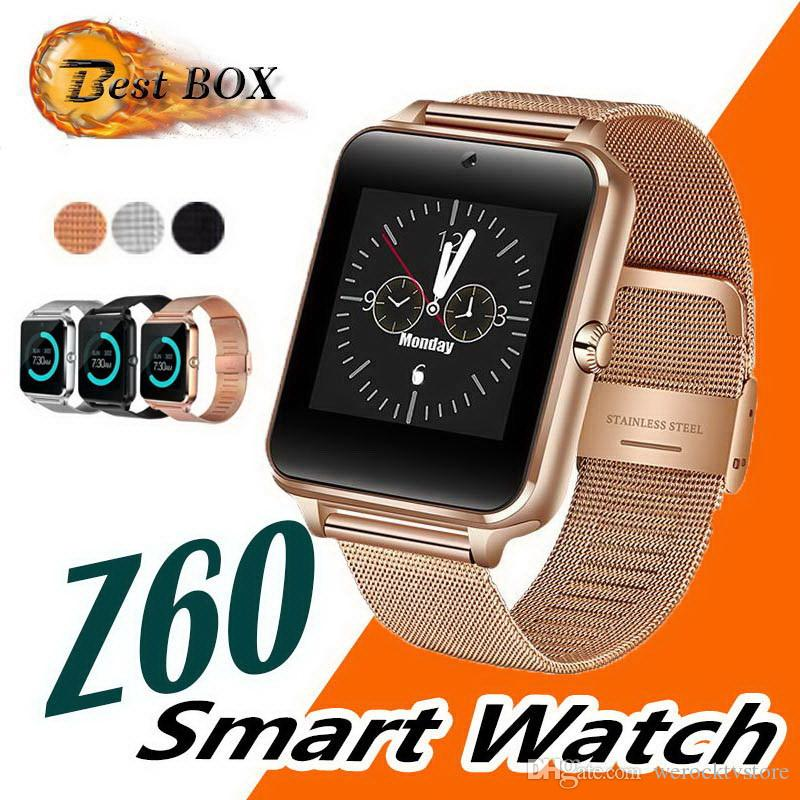 Bluetooth Smart Watch telefono Z60 supporto in acciaio inox SIM Card TF Fitness Tracker GT08 DZ09 Smartwatch per telefono cellulare Android IOS