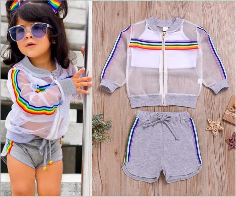 2020 Çocuk Kız Güneş Coat Şort Giyim Seti Gökkuşağı Çizgili Fermuar Ceket + Yelek + Şort Üç parça Suit Çocuk yazlık kıyafetler E22504