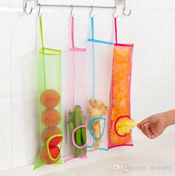 شنقا شبكة تخزين حقيبة موزع اكسسوارات المطبخ قابلة لإعادة الاستخدام بقالة البطاطس والثوم كيس القمامة المنظم حامل