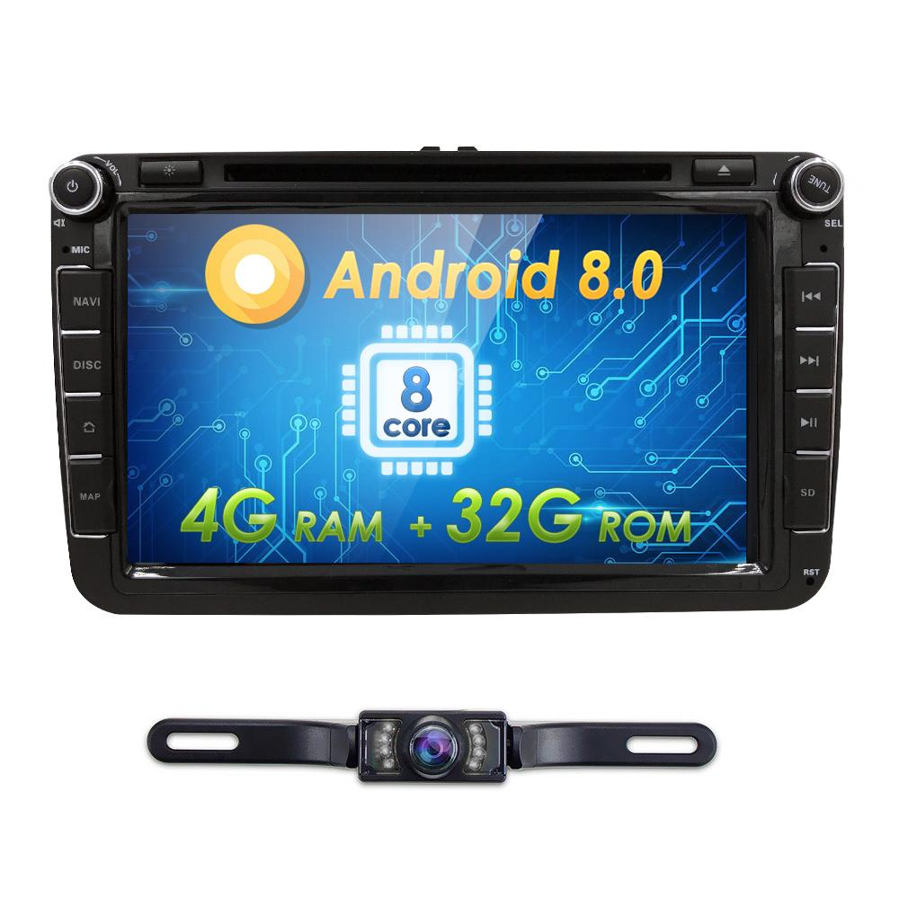 2 din Android 8.0 Octa Núcleo 4 GB RAM 32GROM DVD Do Carro para VW Passat CC Polo GOLFE 5 6 Touran EOS T5 Sharan Jetta Tiguan GPS Rádio BT