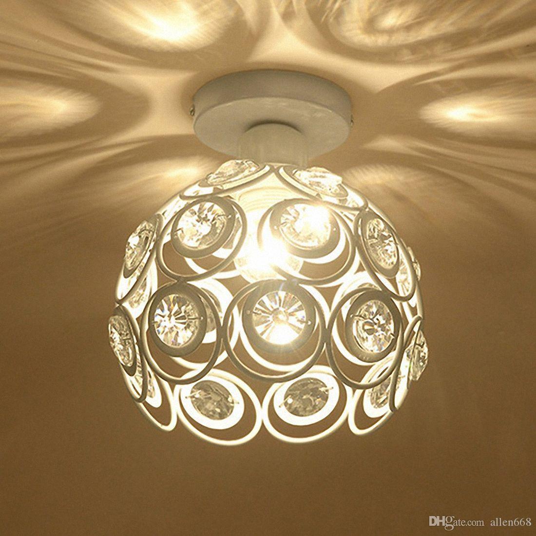 E27 الإبداعية كريستال الحد الأدنى السقف ضوء مصباح السقف بسيط نوم زقاق بسيط الأوروبي الأبيض الحديد مصباح كريستال مصباح