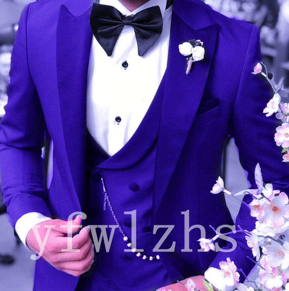 Apuesto un botón padrinos de pico solapa esmoquin novio hombres Trajes de boda / de Baile / Cena mejor hombre Blazer (Jacket + Pants + Tie + Vest) W213
