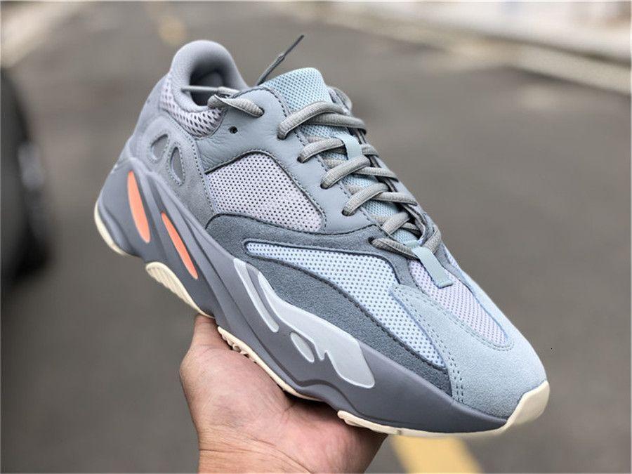 2019 Mejor Auténtico 700 Inercia gris Basf Kanye West Wave Runnner de los zapatos corrientes de las zapatillas de deporte para hombre Ape779001 con la caja original 36-47