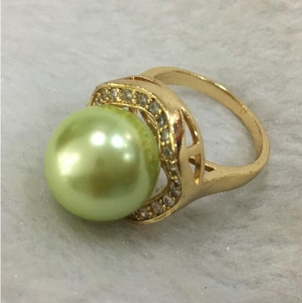 Jewelryr İnci Yüzük Yeni trend lady zarif 18KGP kakma kristal 14mm yeşil kabuk inci yüzük BOYUTU 6/7/8/9/10 Ücretsiz Kargo