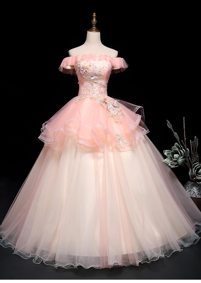 hellrosa slash Kragen Blumenstickerei Fee Kleid Mittelalterliches Kleid Renaissance Kleid Sissi Prinzessin Kleid Victorian Gothic / Marie Belle-Kugel