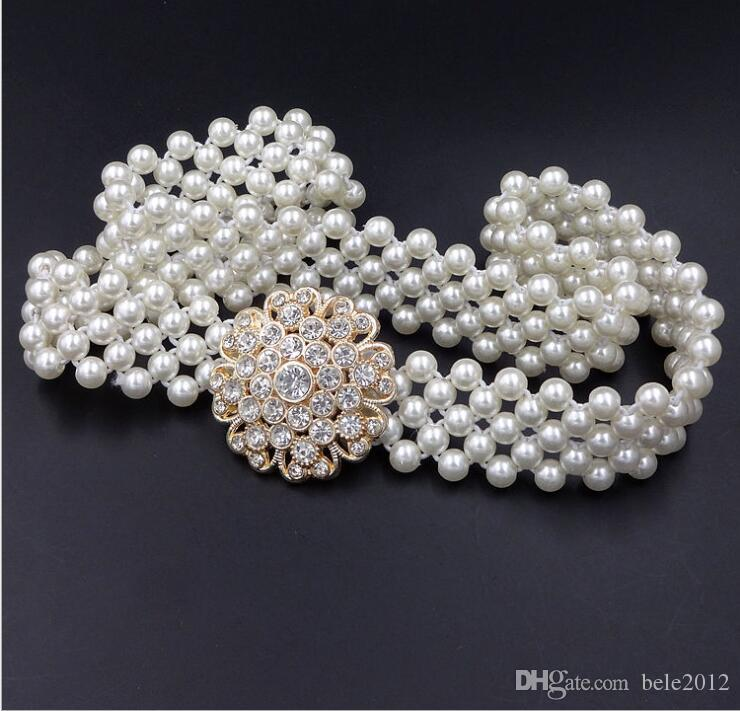 Falda de la correa para las mujeres a reducir cadena de la cintura decorativo 2cm para el vestido coincidente mujeres manera de la perla 66-100cm tamaño de la correa elástica