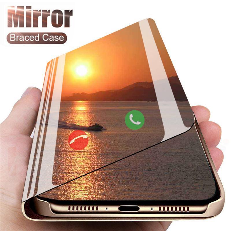 Akıllı Ayna telefon iPhone için Kılıf SE 11 Pro Max Xs Xr X lüks Temizle Flip deri iPhone için Kılıf 7 8 artı 6 S 6