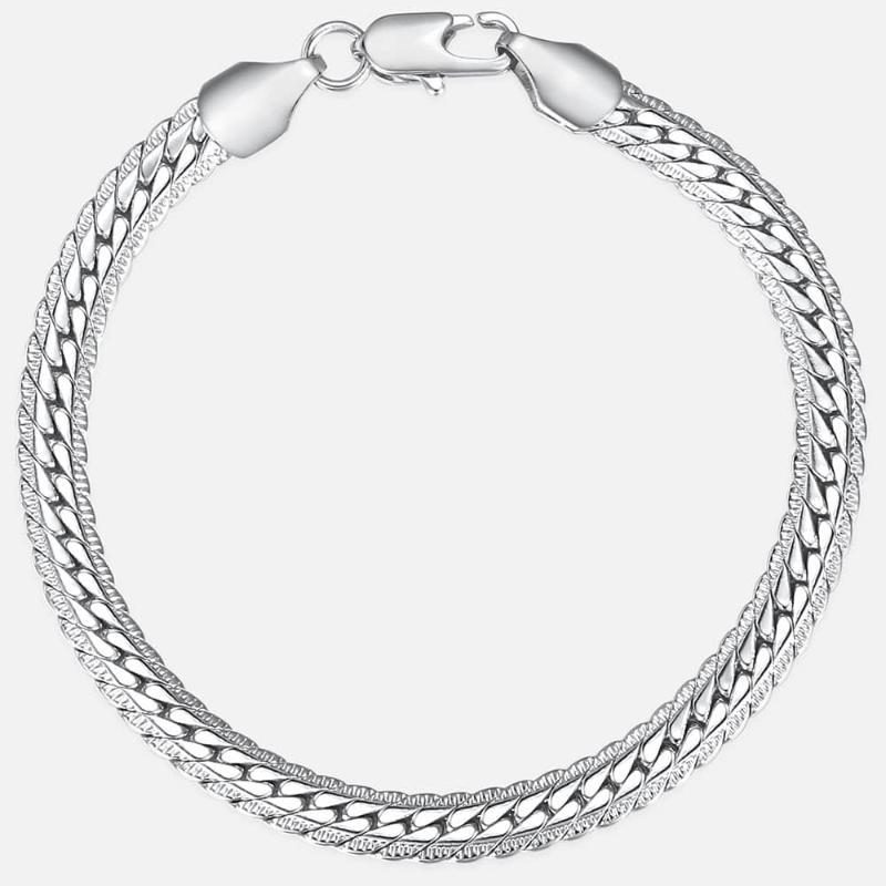 6mm Womens Mens Bracelet Chain Hammered Close Curb Link White Gold Filled GF Bracelet for Girls Boys Fashion Jewelry DGB392