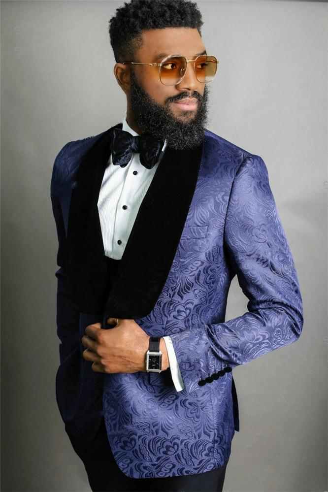 Красивый One Button Groomsmen шаль лацкане жениха смокинги мужские Свадебное платье Человек куртка Blazer Пром Dinner костюмы (куртка + штаны + Tie + Vest) W89