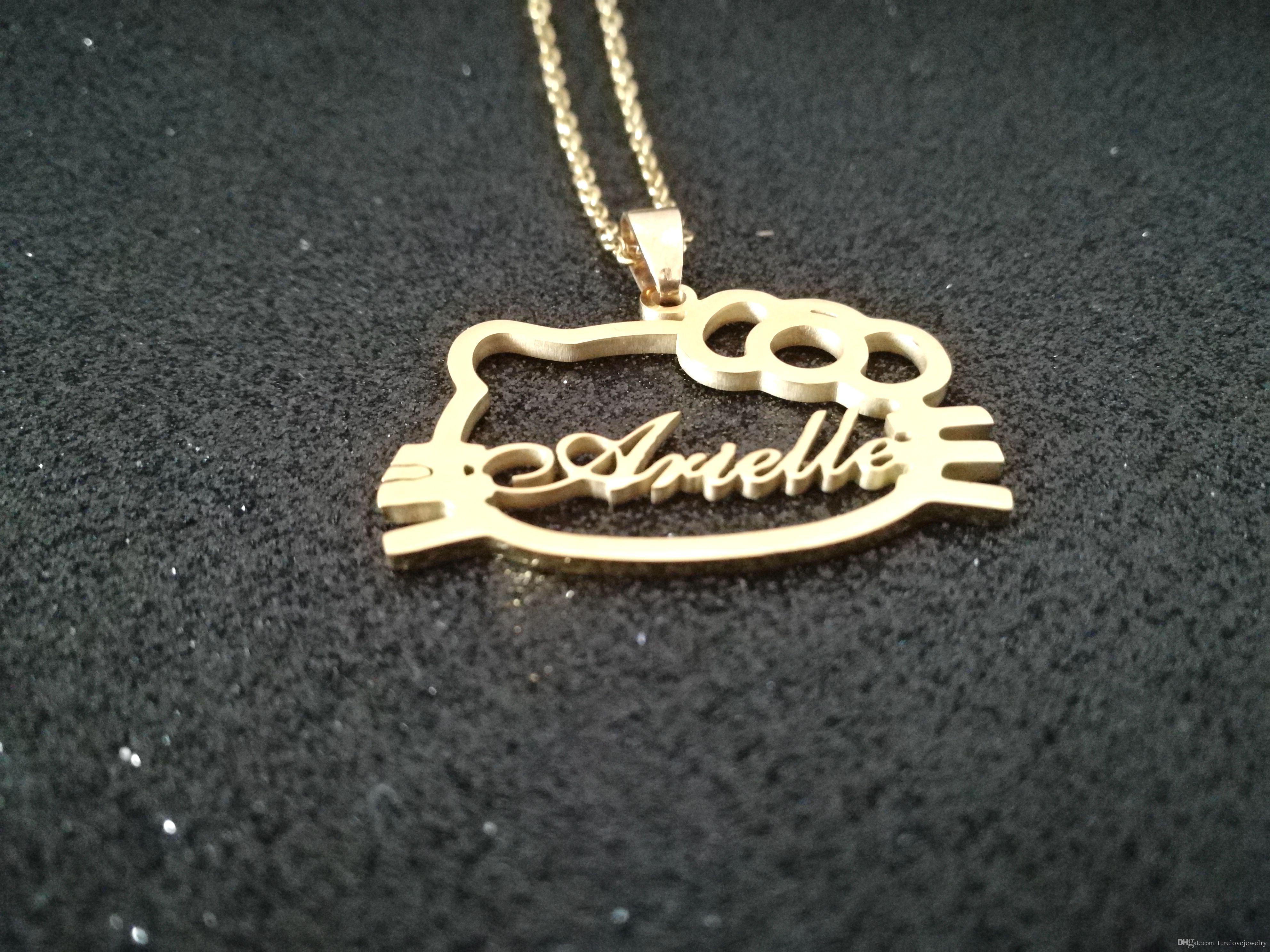 2020 or vente chaude Collier nom personnalisé en acier inoxydable plaqué personnalisé cadeau d'anniversaire de bijoux bonjour collier forme kity