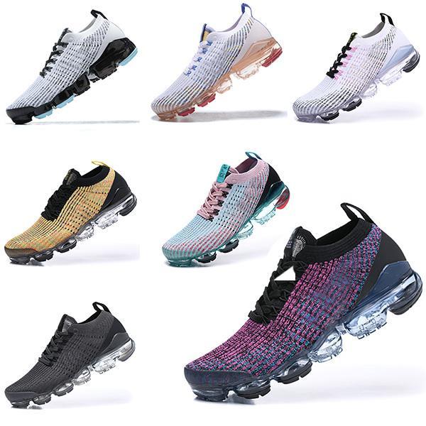 Nike air vapormax 2019 Flyknit 2.0 running shoes Ayakkabı Koşu Üçlü Siyah Tasarımcı Erkek Kadın Sneakers Fly Beyaz örgü minder Eğitmenler Zapatos