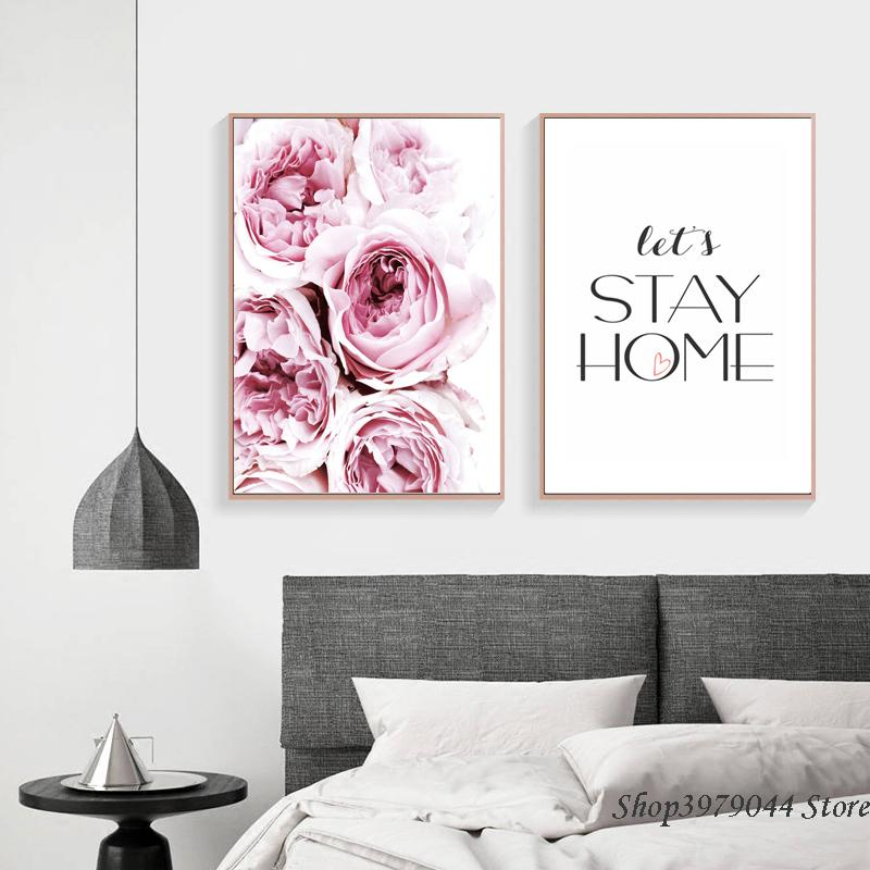 Wall Poster Rose Nordic Decoration Home Pink Peony Paintings Audrey Hepburn Posters Print Wall Pictures For Living Room Unframed