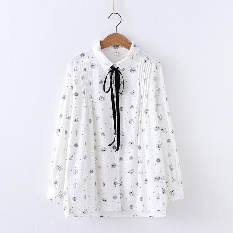 Spring Blouse Shirts Women Preppy Style Turn-down Collar Lace-up Bow Fresh Print Split Hem Irregular Shirts Female Loose Blusas