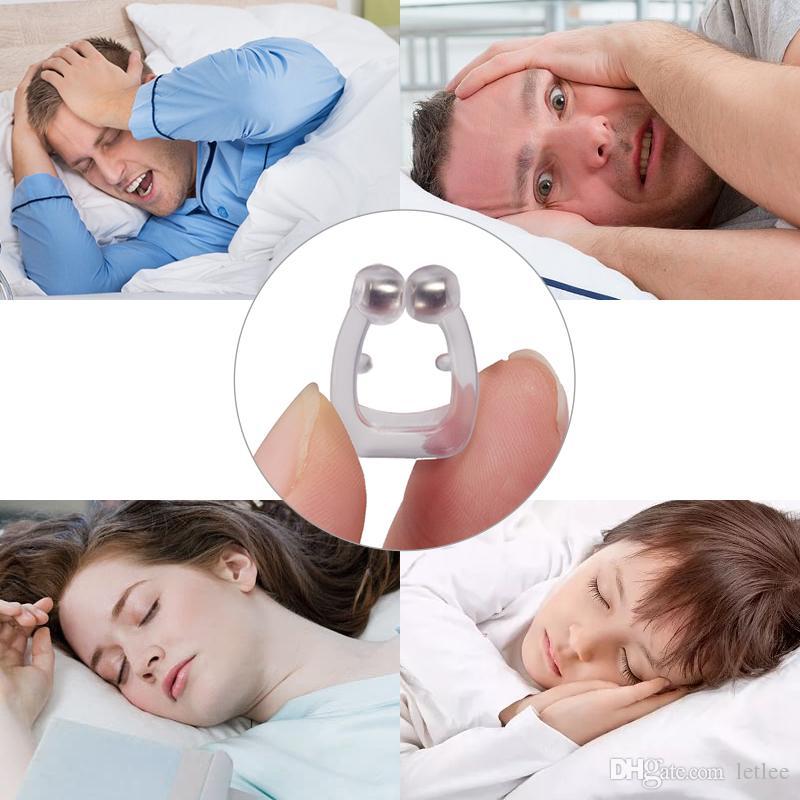Silicona magnética antirronquidos Dejar de roncar Clip de nariz Bandeja para dormir Ayuda para dormir Apnea Guard Dispositivo nocturno con estuche