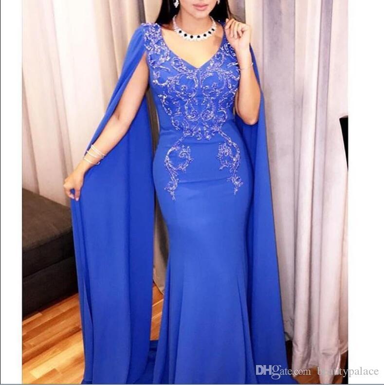 2020 árabe Azul Vestidos Com Cabo Applique Beads Satin Pescoço V Sereia Prom Dress Plus Size vestidos ocasião formal