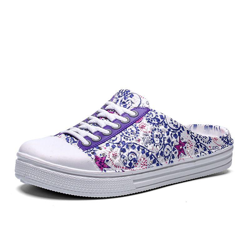 Chinelos de Verão Mulheres Sandálias de PORCELANA Azul e branca rapariga sapatos respiráveis sapatos De Veludo Chinelos desportivos de praia para andar Ao Ar Livre
