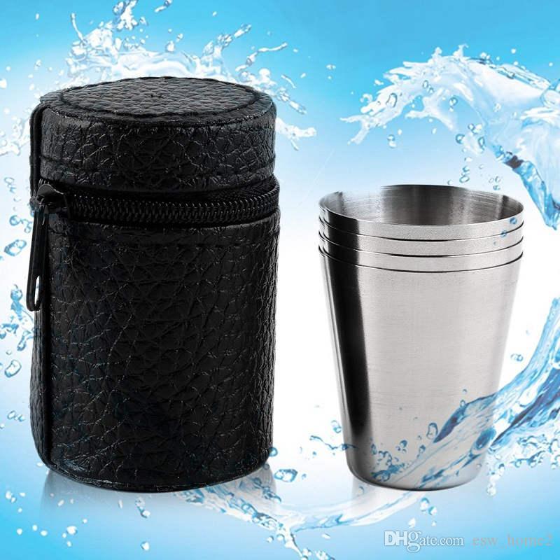 스테인레스 스틸 캠핑 컵 머그잔 야외 캠핑 하이킹 접는 휴대용 차 커피 맥주 컵 저장 가방 70ML