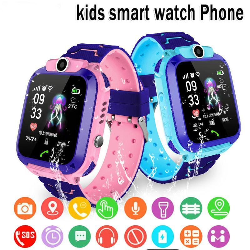 Relógio inteligente SOS Phone Watch Smartwatch Para crianças miúdos com Sim Card Foto Waterproof IP67 caçoa o presente para iOS Android