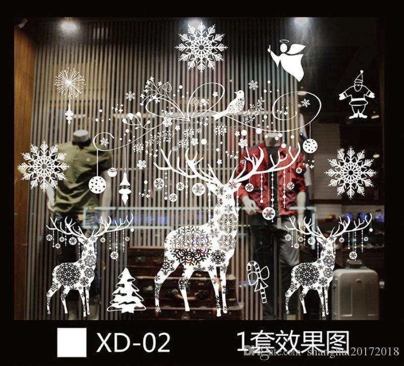 Autocollants En Verre De Fenêtre Sans Colle Sta Merry Christmas Père Noël Neige PVC Amovible Sticker Mural Cadeaux pour Noël Décor