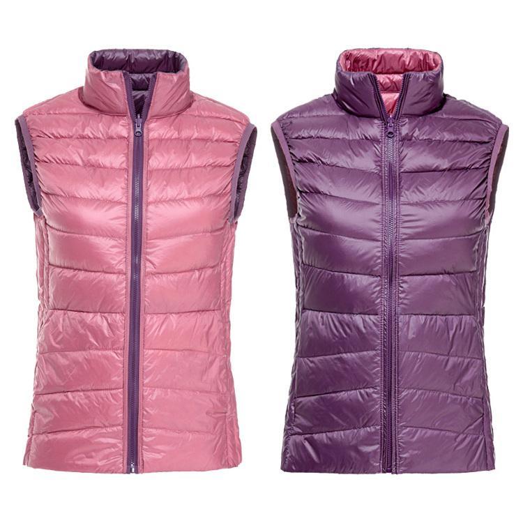 2020 nuevas mujeres del chaleco peso ligero abajo conceden la chaqueta sin mangas femenina prendas de vestir exteriores de doble cara