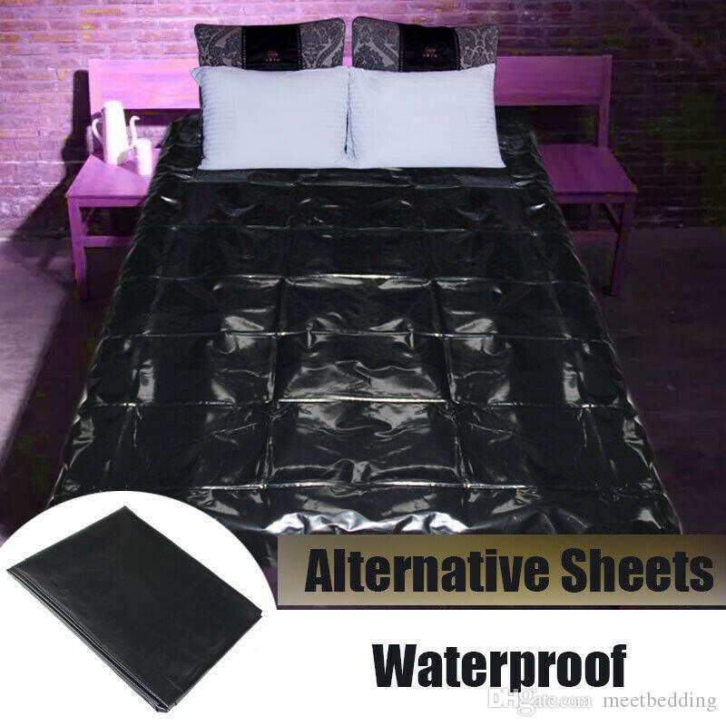 4 Tamanho vermelho preto impermeável Sex Adulto Borracha PVC Wet Folha de cama Cosplay tampa do sono