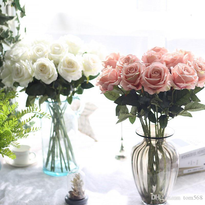 10 unids/lote decoración de látex material táctil Real flor Artificial Rose Bouquet boda decoración del partido falso seda solo tallo flores Floral