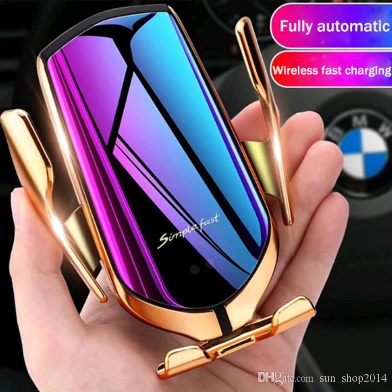 iphone Vent nueva magia R1 hilos del coche cargador automático de sujeción para Android Aire soporte para teléfono rotación de 360 grados 10W de carga rápida con la caja