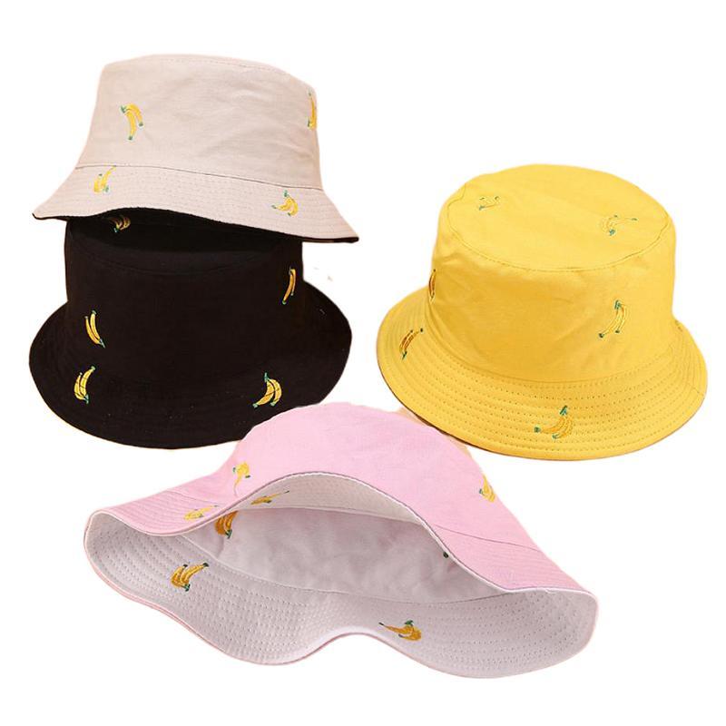Два боковых Реверсивный фрукты Вишневый Bucket Hat Мужчины Женщины Рыбак Hat Summer Sun