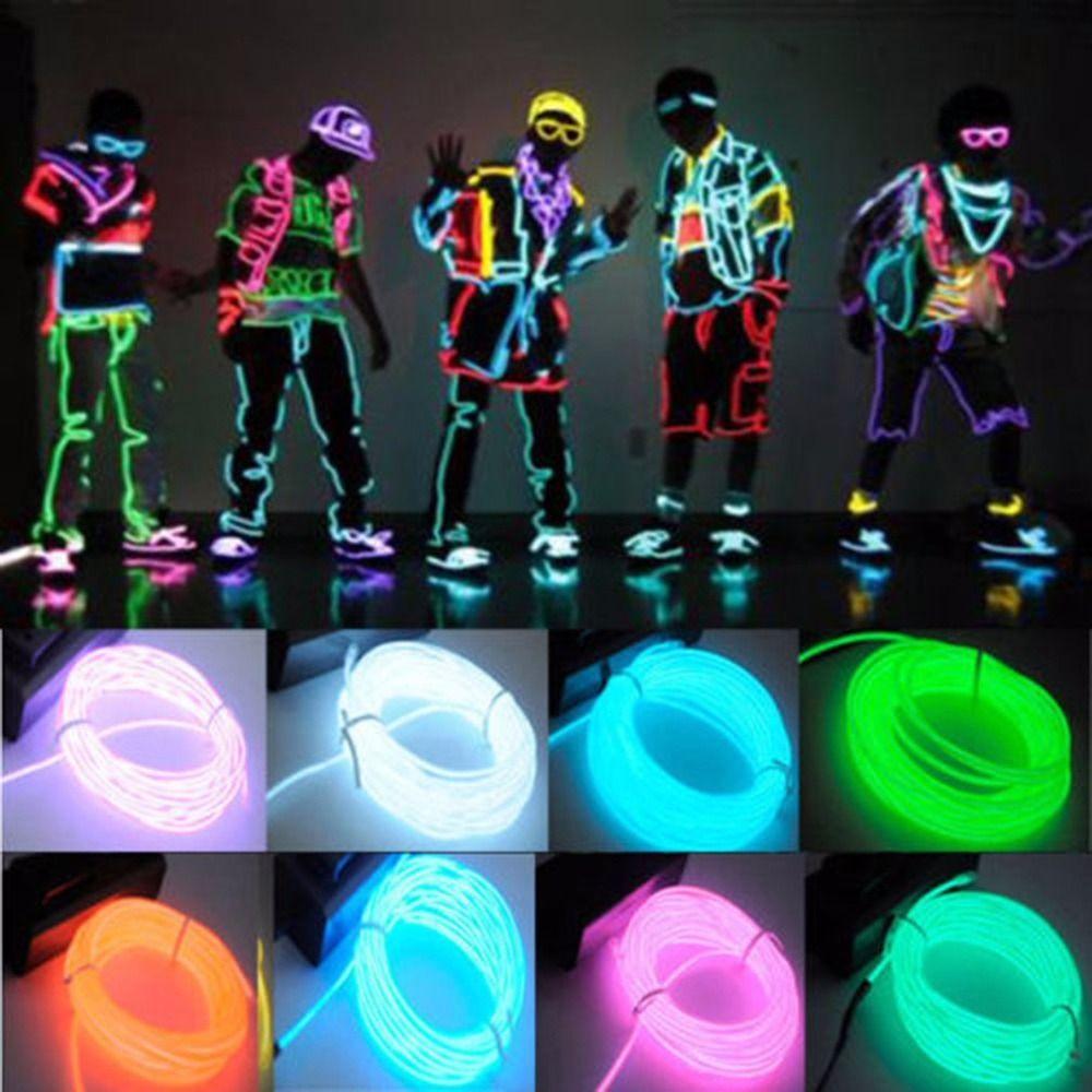 글로우 엘 와이어 케이블 LED 네온 크리스마스 댄스 파티 DIY 의상 의류 발광 자동차 조명 장식 옷 볼 레이브 1 메터 / 3 메터 / 5 메터