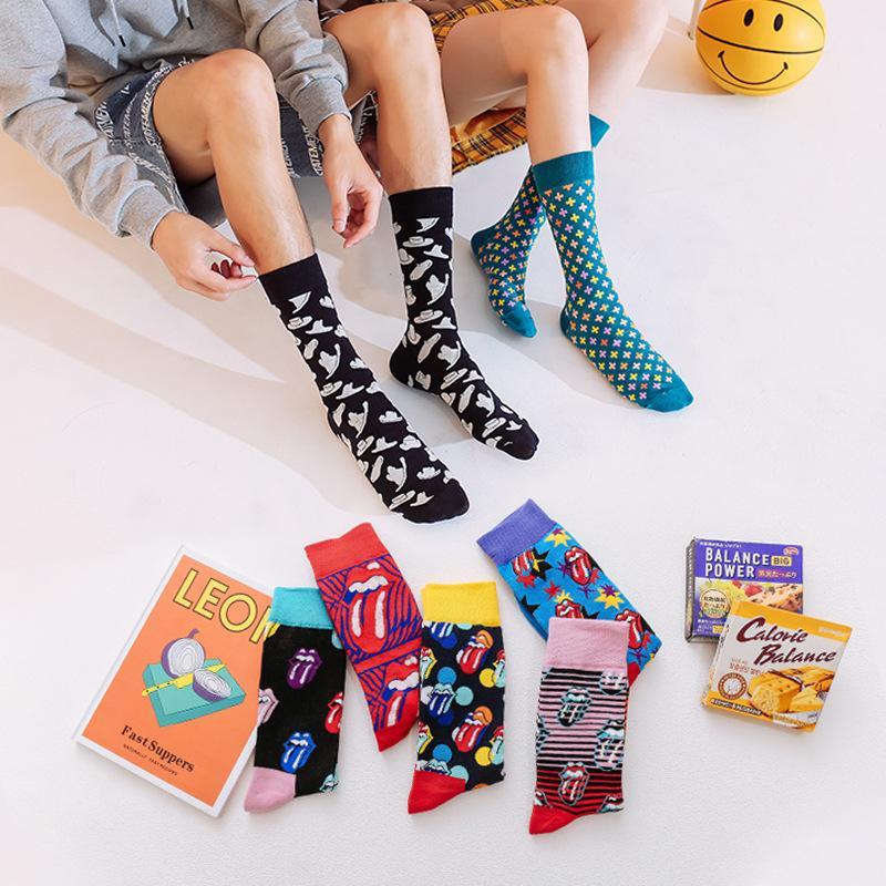 Fancy Brid Dot arte strisce colorato funky Donna Uomo Skate calzini di cotone della novità Tongue Fun Streetwear Pazzo Harajuku paio dono
