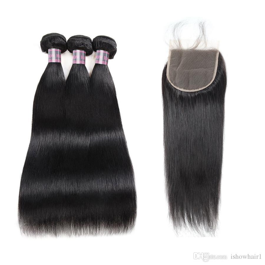 폐쇄 페루 버진 인간의 머리카락 확장에 5 × 레이스 폐쇄 인도 직선 인간의 머리 번들 브라질 3PCS