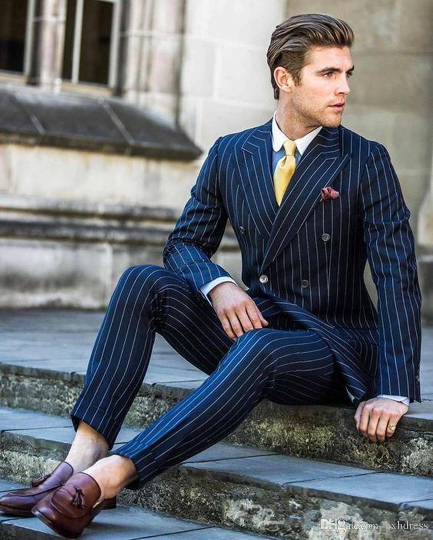 Nuovo disegno classico smoking dello sposo Doppio Petto strisce blu picco risvolto Groomsmen migliore vestito dell'uomo Abiti da sposa Mens (Jacket + Pants + Tie) 4153