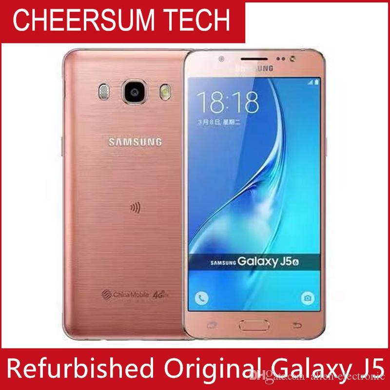 """الأصلي سامسونج غالاكسي J5 J500F J510F مقفلة الهاتف الخليوي رباعية النواة أنف العجل 1.5GB RAM 8GB ROM 5.0 """"WCDMA تجديد الهاتف المحمول"""