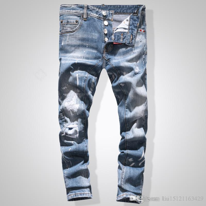 20 Designer Jeans Mens Distressed Ripped Skinny Trousers Luxury Clothes Slim Motorcycle Moto Biker Hip Hop Denim Man Embroidery Bee Pants
