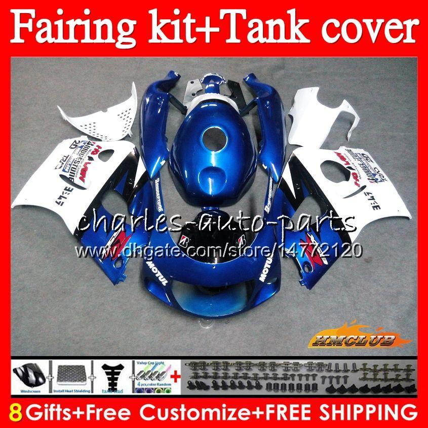 Cuerpo + tanque para SUZUKI GSXR750 SRAD 1996 1997 1998 1999 2000 64NO.63 azul blanco GSX R750 R600 GSXR 600 750 GSXR600 96 97 98 99 00 carenados