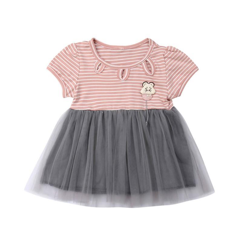 Ragazza del bambino Mesh abito corto manica Fancy abiti da festa vestiti abito di moda Estate Abiti casual