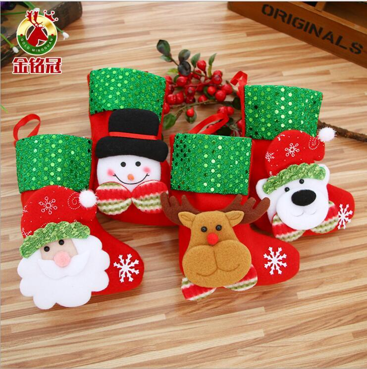 5pc / lot bonhomme de neige Chaussettes Sac Nouvel An Ours Conception Sac Cadeau Bas De Noël Décor Décoration De Fête De Noël Cadeau Stockage
