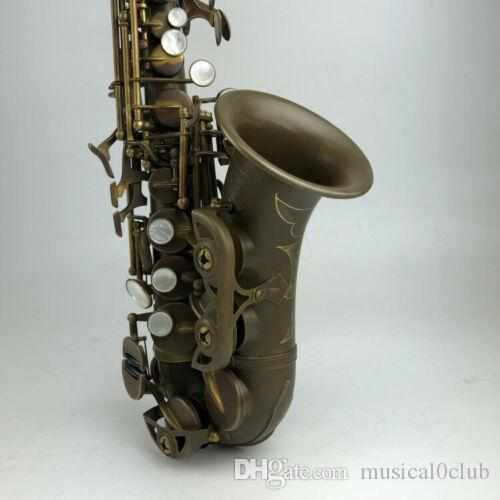 New Antique Copper Soprano Saxophone Bb Curved Saxofone High F# With Case Good Condition Custom B flat Sax