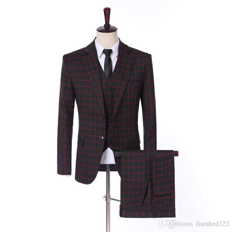 New Arrival Glen Plaid Back Vent Two Buttons Wedding Groom Tuxedos Notch Lapel Groomsmen Men Suits Prom Blazer (Jacket+Pants+Vest+Tie) W34